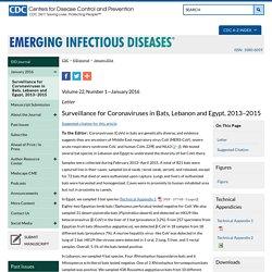 Surveillance for Coronaviruses in Bats, Lebanon and Egypt, 2013–2015 - Volume 22, Number 1—January 2016