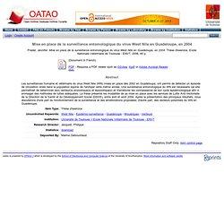 OATAO - 2006 - Mise en place de la surveillance entomologique du virus West Nile en Guadeloupe, en 2004.