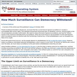 How Much Surveillance Can Democracy Withstand?