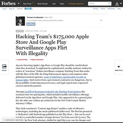 Hacking Team's $175,000 Apple Store And Google Play Surveillance Apps Flirt With Illegality