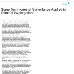 Some Techniques of Surveillance Applied in Criminal Investigations