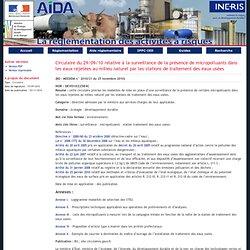 AIDA - Circulaire du 29/09/10 relative à la surveillance de la présence de micropolluants dans les eaux rejetées au milieu natur