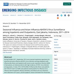 CDC EID - NOV 2019 - Seasonal Influenza and Avian Influenza A(H5N1) Virus Surveillance among Inpatients and Outpatients, East Jakarta, Indonesia, 2011–2014