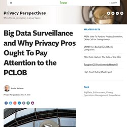 Big Data Surveillance and Why Privacy Pros Ought To Pay Attention to the PCLOB