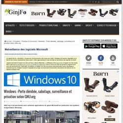 Windows : Porte dérobée, sabotage, surveillance et privation selon GNU.org