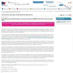 Surveillance des infections liées au nouveau coronavirus (MERS-CoV). Point au 26 novembre 2013. / Infection à nouveau coronavirus (MERS-CoV) / Infection à coronavirus / Infections respiratoires / Maladies infectieuses / Dossiers thématiques
