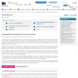 Les dispositifs de surveillance et les sources de données / Santé mentale / Maladies chroniques et traumatismes