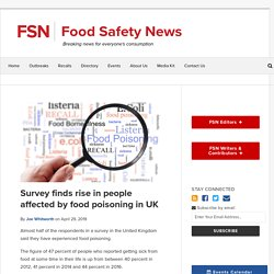 FOOD SAFETY NEWS 29/04/19 Survey finds rise in people affected by food poisoning in UK