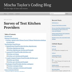 Survey of Test Kitchen providers - Mischa Taylor's Coding Blog