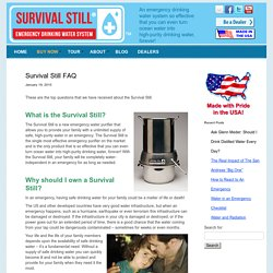 Survival Still, Emergency Drinking Water System