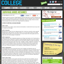 Survival Guide: Resumes
