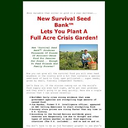 Survival Seeds - The Survival Seed Bank Provides a Lifetime Food Solution for Families