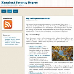 Top 40 Blogs for Survivalists » Homeland Security Degree