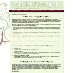 For Male Survivors of Rape & Sexual Abuse | Pandora's Project