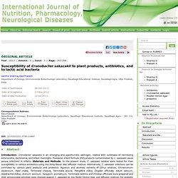 INTERNATIONAL JOURNAL OF NUTRITION, PHARMACOLOGY, NEUROLOGICAL DISEASES - 2013 - Susceptibility of Cronobacter sakazakii to plan
