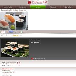 Sushis et makis de thon et saumon