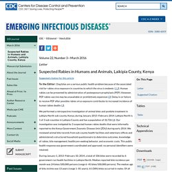 CDC EID – MARS 2016 – Au sommaire notamment: Mycobacterium microti Infection in Dairy Goats, France