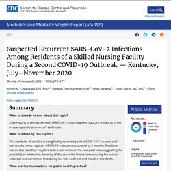 MMWR 26.02.21 Suspected Recurrent SARS-CoV-2 Infections Among Residents of a Skilled Nursing Facility During a Second COVID-19 Outbreak — Kentucky, July–November 2020