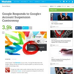 Google Responds to Google+ Account Suspension Controversy