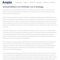 Sustainability is an Attitude, not a Strategy - Amplo Global