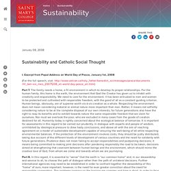Sustainability and Catholic Social Thought