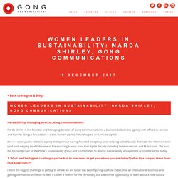 Narda Shirley is Women Leaders in Sustainability at Gong Communications