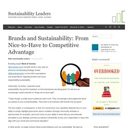 Brands and Sustainability: From Nice-to-Have to Competitive Advantage - Sustainability Leaders in Travel and Tourism