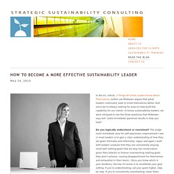 How to Become a More Effective Sustainability Leader — Strategic Sustainability Consulting