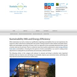 Sustainability WA and Energy Efficiency