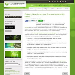 Following New Guidance on Business Sustainability Metrics