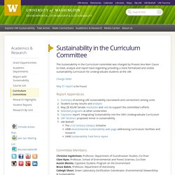 Sustainability in the Curriculum Committee