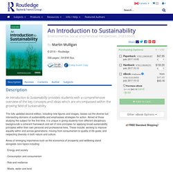 An Introduction to sustainability: environmental, social and personal perspectives.
