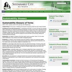Sustainability: Sustainability Glossary