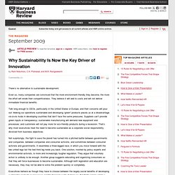 Why Sustainability Is Now the Key Driver of Innovation - Harvard