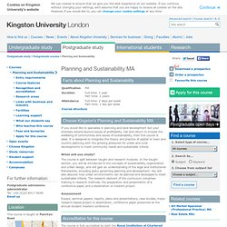 Planning and Sustainability MA - Postgraduate courses
