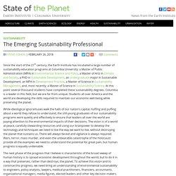 The Emerging Sustainability Professional
