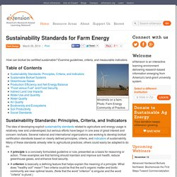 Sustainability Standards for Farm Energy