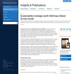 Sustainability's strategic worth: McKinsey Global Survey results