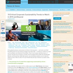 10 Critical Corporate Sustainability Trends to Watch in 2015 and Beyond
