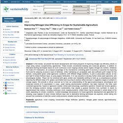 Sustainability 2011, 3(9), 1452-1485; Improving Nitrogen Use Efficiency in Crops for Sustainable Agriculture