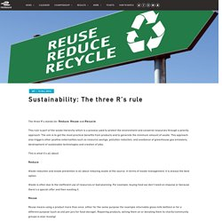 Sustainability: The three R's rule – Formula E