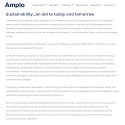 Sustainability…an aid to today and tomorrow - Amplo Global Inc.