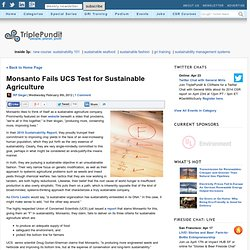 Monsanto Fails UCS Test for Sustainable Agriculture