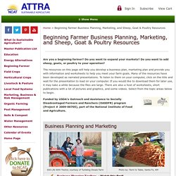 Beginning Farmer Business Planning, Marketing, and Sheep and Goat Resources