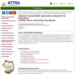 Western Sustainable Agriculture Research & Education (SARE) Farm Internship Curriculum and Handbook