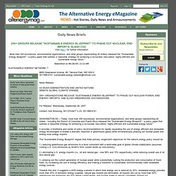 "200+ GROUPS RELEASE ""SUSTAINABLE ENERGY BLUEPRINT"" TO PHASE OUT NUCLEAR, END IMPORTS, SLASH CO2 