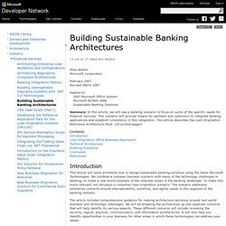 Building Sustainable Banking Architectures