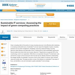 Sustainable IT services: Assessing the impact of green computing practices