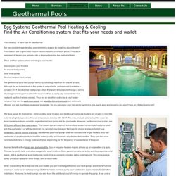 Egg Geothermal: Pool Heating