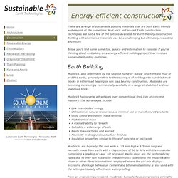 Sustainable Buildings, Earth Friendly construction, Mud brick construction and alternative building materials